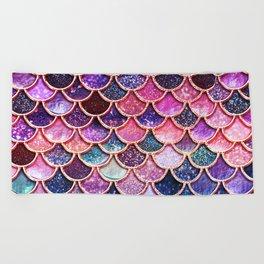 Pink & Purple Trendy Glitter Mermaid Scales Beach Towel