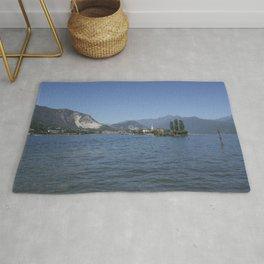 Panoramic view of Fishermen Island on Lake Maggiore, Italy Rug