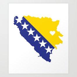 Love Bosnia-Herzegovina Gift Bosnian Pride Heart Art Print