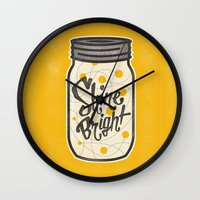 fireflies Wall Clocks featuring Fireflies by Landon Sheely