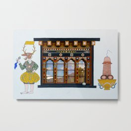 Phallus paintings on Bhutanese house Metal Print