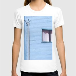 vintage blue wood building with window and electric pole T-shirt