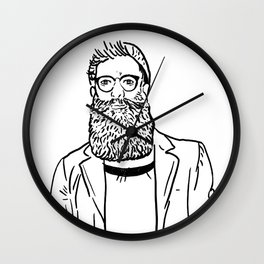 Hipster Style: trendy fashion men. Sketch character . Vector illustration. Wall Clock