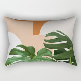 Abstract shapes art, Tropical leaves, Plant, Mid century modern art Rectangular Pillow