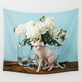 Sphinxes and peonies Wall Tapestry
