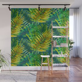 Green foliage green background  Wall Mural