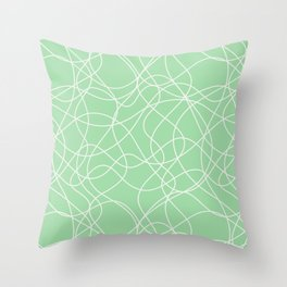Off White Scribbled Lines Abstract Hand Drawn Mosaic on Pastel Mint Green 2020 Color of the Year Throw Pillow