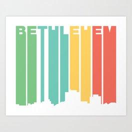 Retro 1970's Style Bethlehem Pennsylvania Skyline Art Print