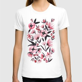 Black and Peach Flowers - Watercolor Pattern T-shirt
