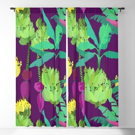 Banana Bunches in Dark Orchid Blackout Curtain