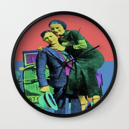 Bonnie and Clyde Pop Art Wall Clock