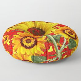 WESTERN STYLE RED COLOR YELLOW-GOLD SUNFLOWERS Floor Pillow