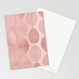 Rose Gold Leaf Pattern Stationery Cards