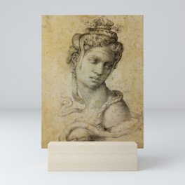 """Michelangelo Buonarroti """"Female Figure Seen in Bust-Length From the Front (Cleopatra with snake)"""" Mini Art Print"""