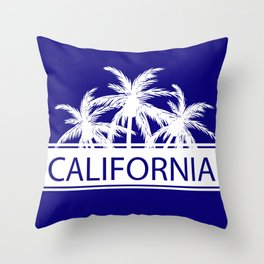 California and Palm Trees Throw Pillow