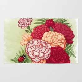Full bloom | Ladybug carnation Rug
