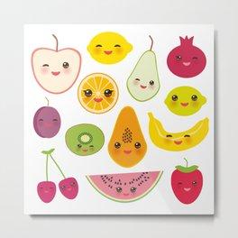strawberry, orange, banana cherry, lime, lemon kiwi plums, apples, watermelon pomegranate papaya Metal Print