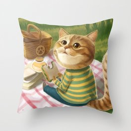 A cat is having a picnic Throw Pillow