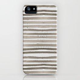 Simply Shibori Stripes Earth Brown on Lunar Gray iPhone Case