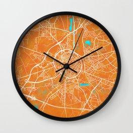 Leuven, Belgium, Gold, Blue, City, Map Wall Clock