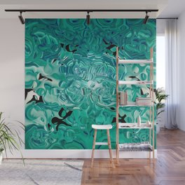 Turquoise Tear Drop Texture Abstract Wall Mural