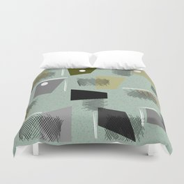 Mid-Century Modern Green Abstract Duvet Cover