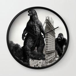 Godzilla and King Kong Visit The Flat Iron Building Wall Clock