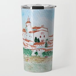 Watercolor landscape of Cadaques, Spain Travel Mug