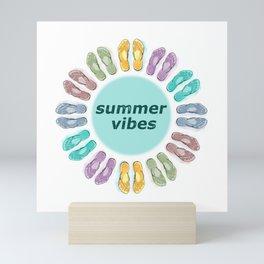 Summer vibes in flip flops Mini Art Print