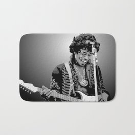 Jimi Hendrix Black And White Illustration Bath Mat