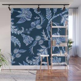 ROYAL BLUE BATIK FLORAL Wall Mural