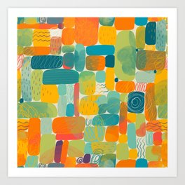 Funny color block abstract shape painting illustration pattern Art Print