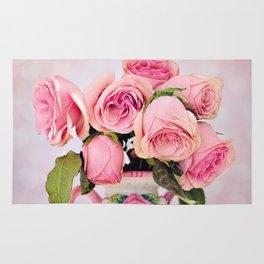 Pink Roses in a Vase Rug