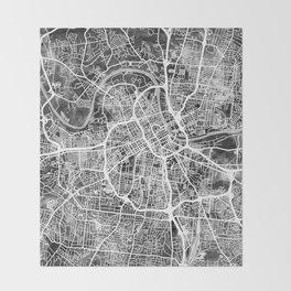 Nashville Tennessee City Map Throw Blanket