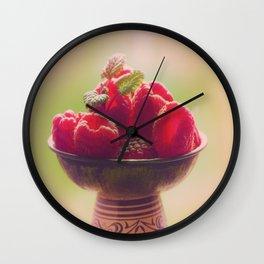 Raspberries fruit enjoyment Wall Clock