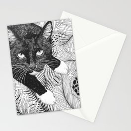 cat in black and white III Stationery Cards