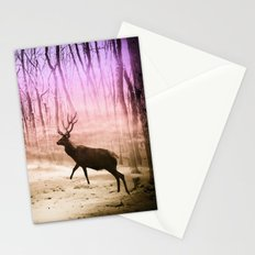 Deer in a foggy forest Stationery Cards
