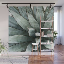 Botanical Succulents // Dusty Blue Green Desert Cactus High Quality Photograph Wall Mural