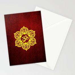 Vintage Scratched Yellow and Red Lotus Flower Yoga Om Stationery Cards