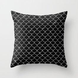 Black & Silver Mermaid Scales Pattern Throw Pillow