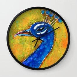 Peacock art: GLOW Wall Clock