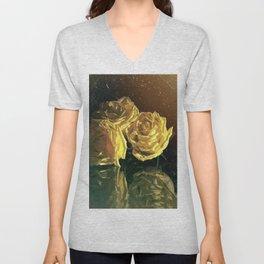 Yellow Vintage Roses Unisex V-Neck