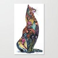tatoo Canvas Prints featuring Tatoo cat by Annie Liu