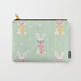 White rabbit Christmas pattern 001 Carry-All Pouch
