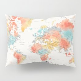 """""""Explore"""" - Colorful watercolor world map with cities Pillow Sham"""