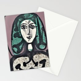 Pablo Picasso - The Woman with the Fishnet, Woman with Green Hair - Digital Remastered Edition Stationery Cards