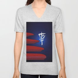 Disc Golf in Blue and Red Unisex V-Neck