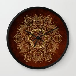 Gold Flower Mandala on Red Textured Background Wall Clock