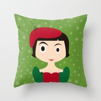amelie Throw Pillows featuring Amelie by Creo tu mundo