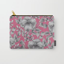 Gray Florals Carry-All Pouch